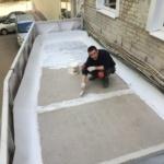 Начало   гидроизоляции бетонной плиты